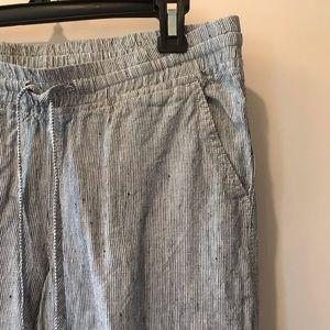 Allen Allen Striped Linen Drawstring Pants